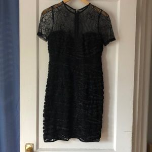 Zara lace and ribbon dress in black, size Small.